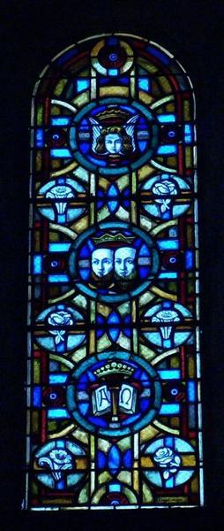 10 verrières symboliques illustrant les litanies de la Vierge et des saints