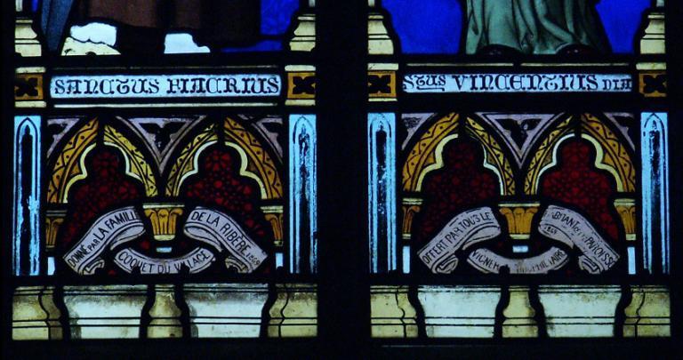 Verrière représentant saint Fiacre et saint Vincent