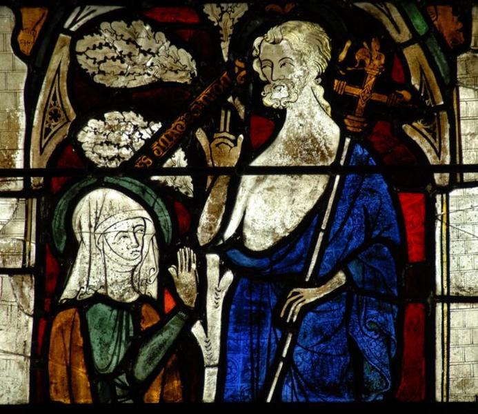 Verrière représentant la Crucifixion, l'Apparition du Christ à Marie-Madeleine et le Jugement dernier
