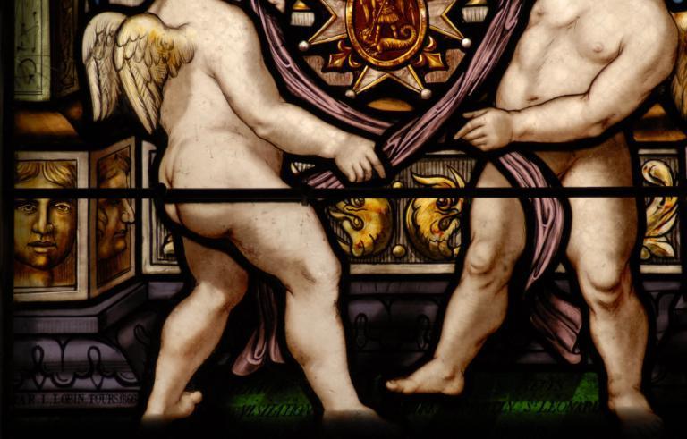 Verrière représentant Nicolas d'Anjou et Gabrielle de Mareuil