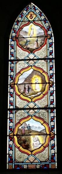 Verrière représentant l'apparition de la Vierge à La Salette