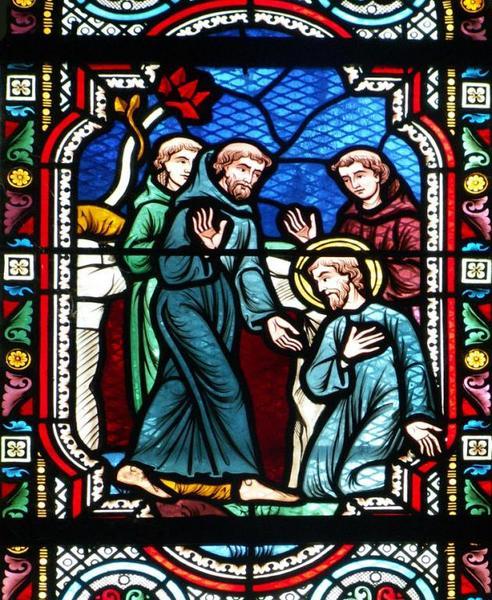 3 verrières représentant saint Julien du Mans, saint Bernard de Tiron et Pierre de l'Etoile