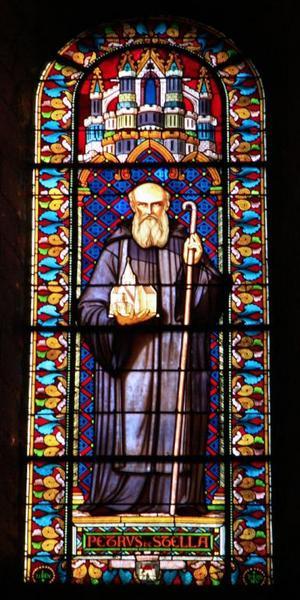 Verrière représentant Pierre de l'Étoile, fondateur de l'abbaye de Fontgombault