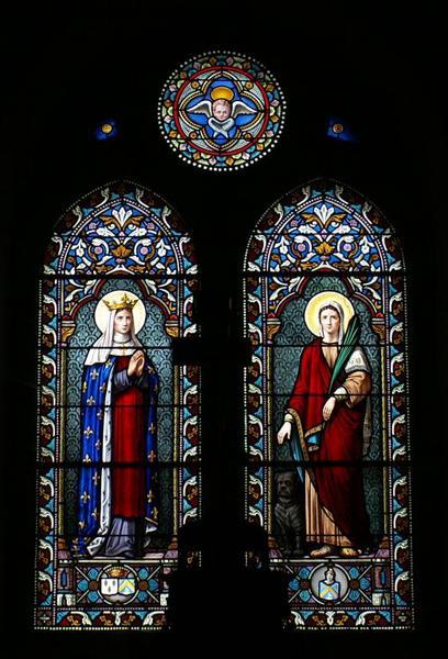 Verrière représentant une sainte reine et une sainte martyre