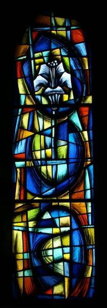 3 verrières symbolisant le Christ, la Vierge et saint Etienne