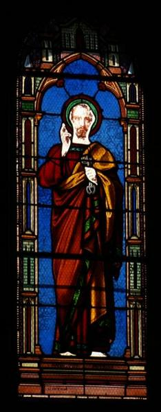 4 verrières représentant saint Pierre, sainte Solange, saint Roch et saint Dominique