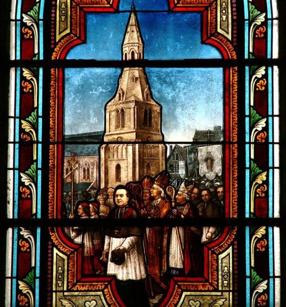 2 verrières commémoratives de la destruction et de la reconstruction de l'église de La Châtre