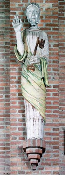 ensemble de 4 statues : saint Louis, Vierge à l'Enfant, saint Pierre, saint Joseph