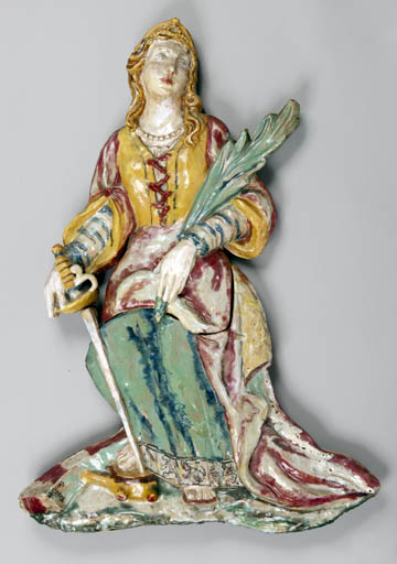 haut-relief : sainte Catherine d'Alexandrie