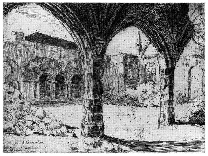 eau-forte : la chapelle Notre-Dame des Miracles après les bombardements de 1940