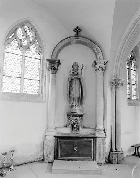 ensemble de 2 autels secondaires : autel, retable à niche, tabernacle, de la Vierge, de saint Martin