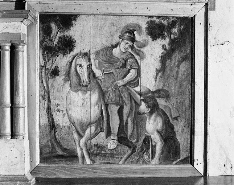 2 peintures : Charité de saint Martin, saint Georges terrassant le dragon