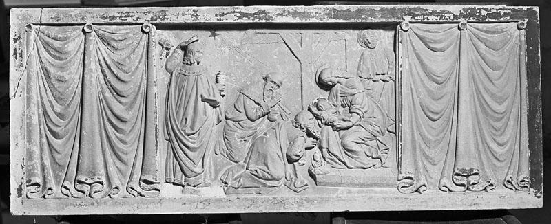 ensemble de 2 bas-relief : Adoration des Mages, adoration des anges