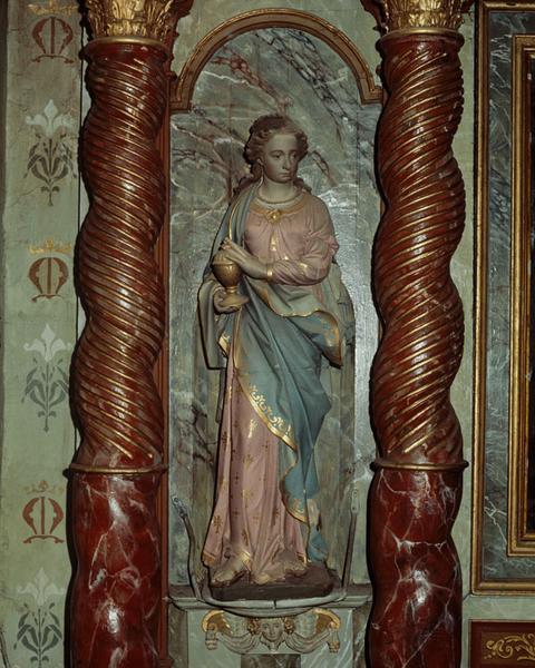 ensemble de 2 statues : saint Charles Borromée, sainte Madeleine
