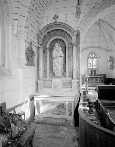 ensemble de l'autel secondaire Notre-Dame : autel, tabernacle, retable à niche