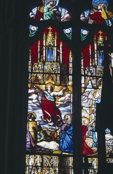 ensemble de 3 verrières figurées : Vie de la Vierge, Vie du Christ