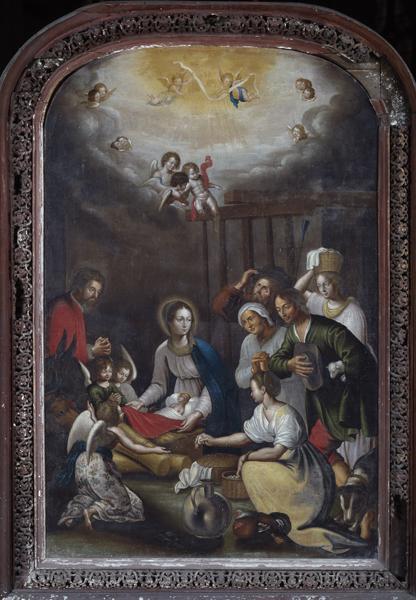 Tableau, cadre : l'Adoration des bergers