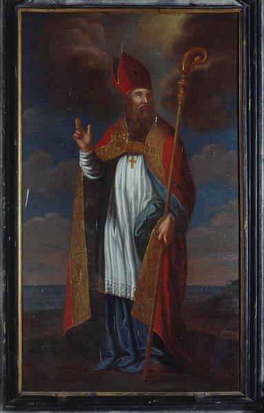 ensemble de 2 tableaux d'autel (retable du maitre autel) : saint Pierre, saint Manvieu