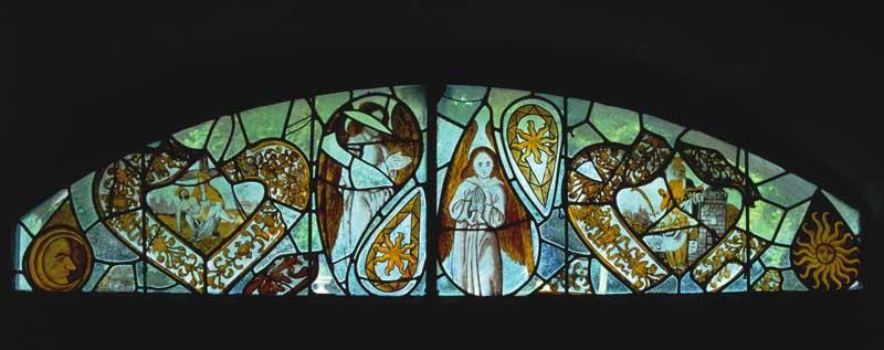 Verrière (décorative ; figurée) : Lune, Vierge de douleur, Sainte Barbe, Anges