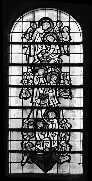 ensemble de 3 verrières hagiographiques : Vie de saint Pierre