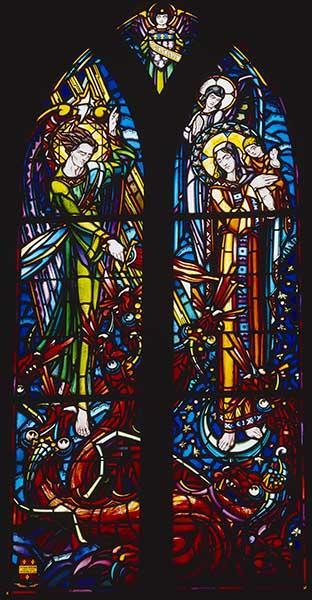 verrière figurée : Saint Michel terrassant le démon