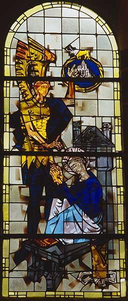 ensemble de 3 verrières figurées : Saint Michel peseur d'âmes, Délivrance de saint Pierre apôtre par un ange, Vision de saint Aubert