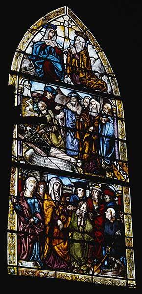 Ensemble de 2 verrières hagiographiques : Invention de la Croix, Vie de saint Jean-Baptiste