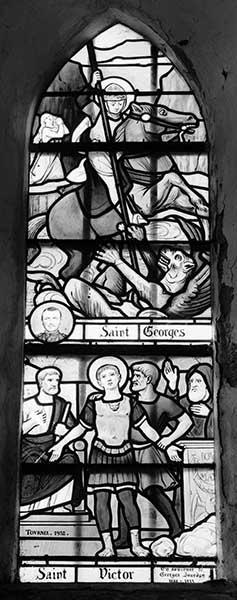 Ensemble de 6 verrières figurées : Saint Georges et saint Victor, Saint Louis, Vie de Jésus, Saint Alphonse de Ligori, Sainte Honorine, Sainte Marthe et sainte Marie-Madeleine