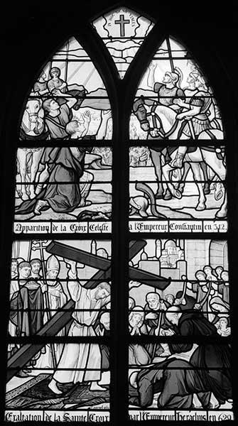 Ensemble de 3 verrières figurées : Vie de Jésus et de saint Joseph, Conversion de Constantin et exaltation de la Croix, Apparitions de Notre-Dame