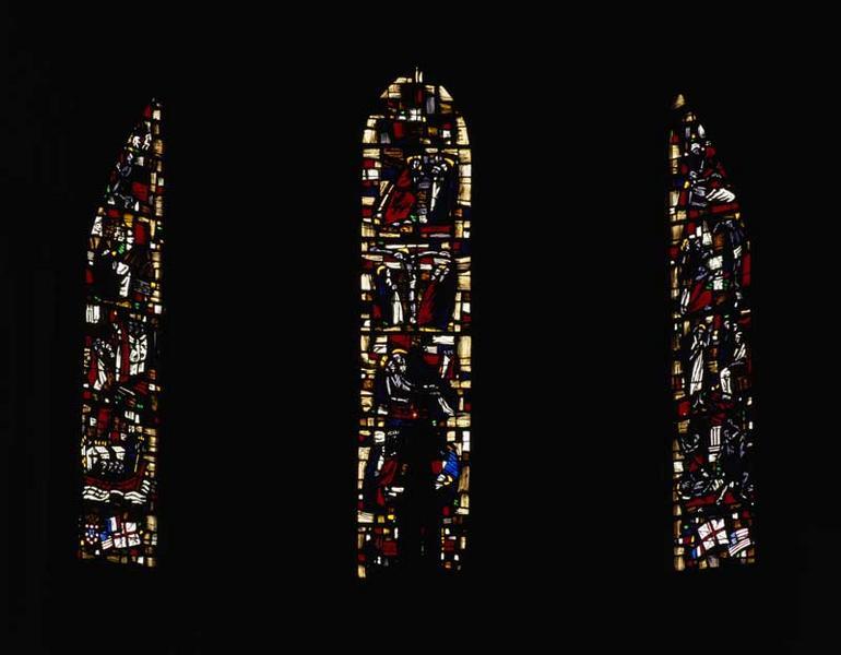 Ensemble de 5 verrières (figurées ; hagiographiques) : la Passion, Vie de saint Martin, Vie de saint Etienne, Vie de saint Georges, Vie de saint Louis