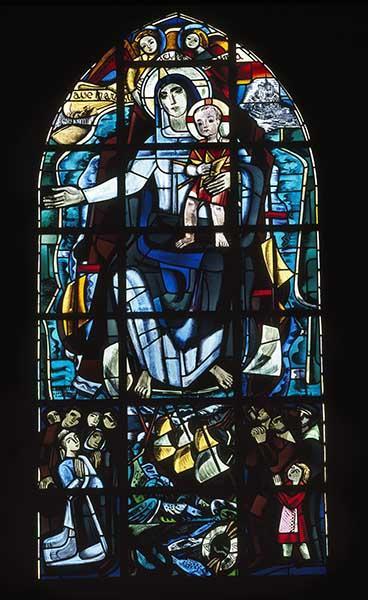 ensemble de 6 verrières (figurée, hagiographique) : Vierge à l'Enfant, vie de saint Germain