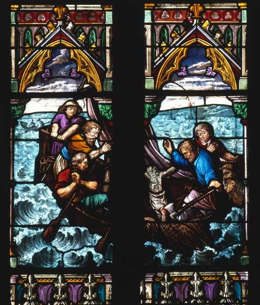 ensemble de 8 verrières (hagiographiques ; figurées) : Vie de saint Jean-Baptiste, Vie de saint Pierre, Saint Dominique recevant le rosaire, Mort de saint Joseph, Légende du Christ miraculeux de Dives