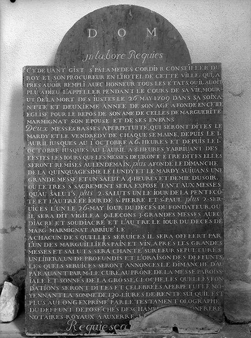 Plaque funéraire de Palamédès Cordier