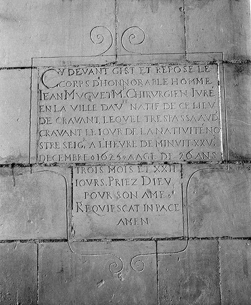 Plaque funéraire de Jean Muguet (inscription funéraire)