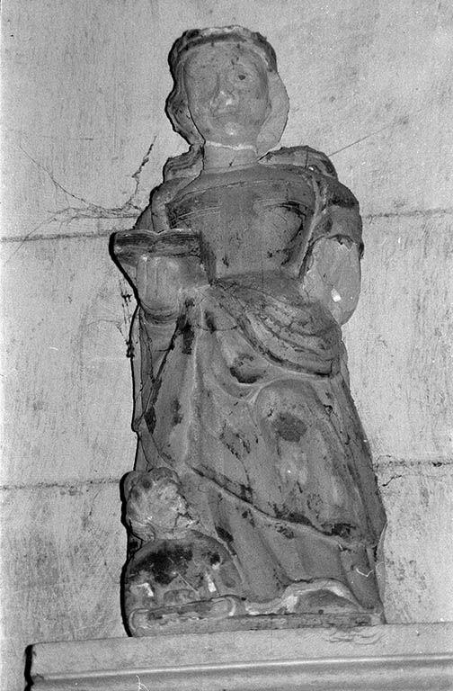 Groupe sculpté (demi-nature) : sainte Catherine