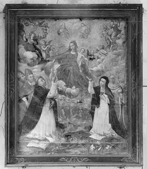 Tableau : La Donation du Rosaire à saint Dominique et à sainte Catherine de Siennne