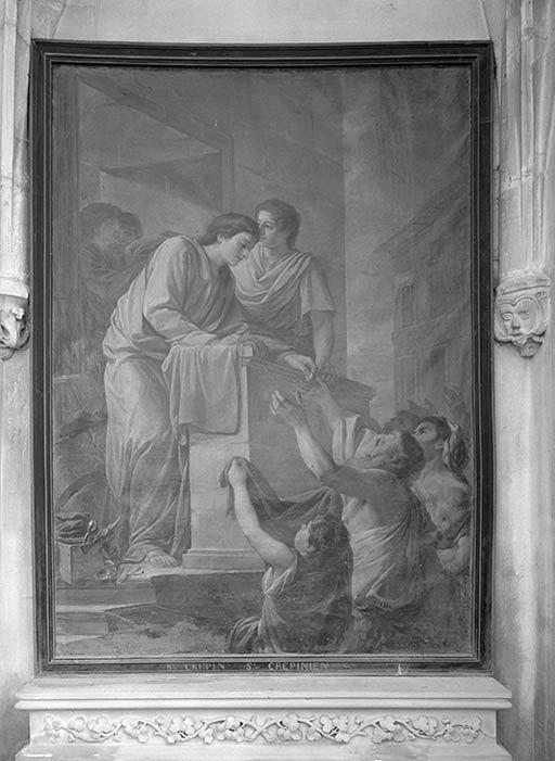 tableau : saint Crépin et saint Crépinien distrbuant des aumônes