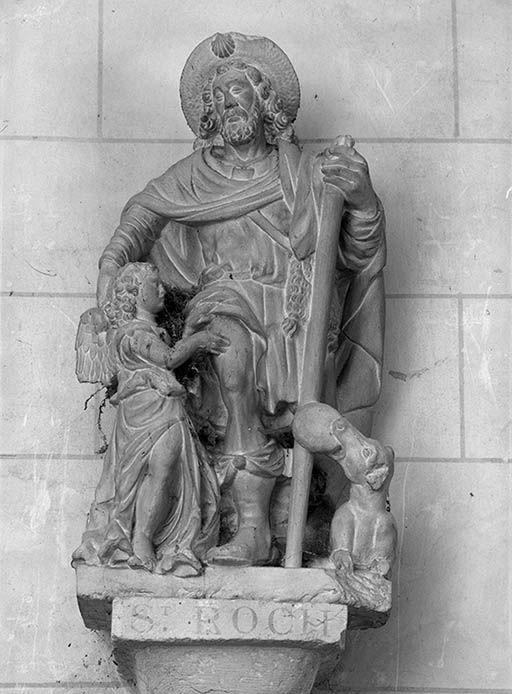 Groupe sculpté : Saint Roch et l'ange