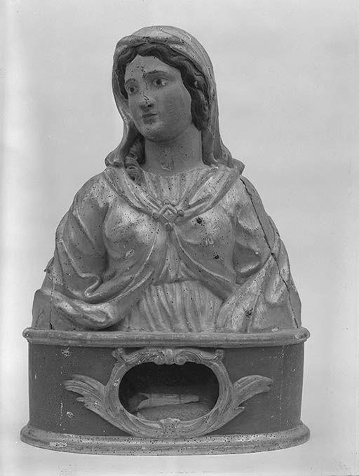 bustes-reliquaires en pendant : saint Eugène de Tolède (?), sainte