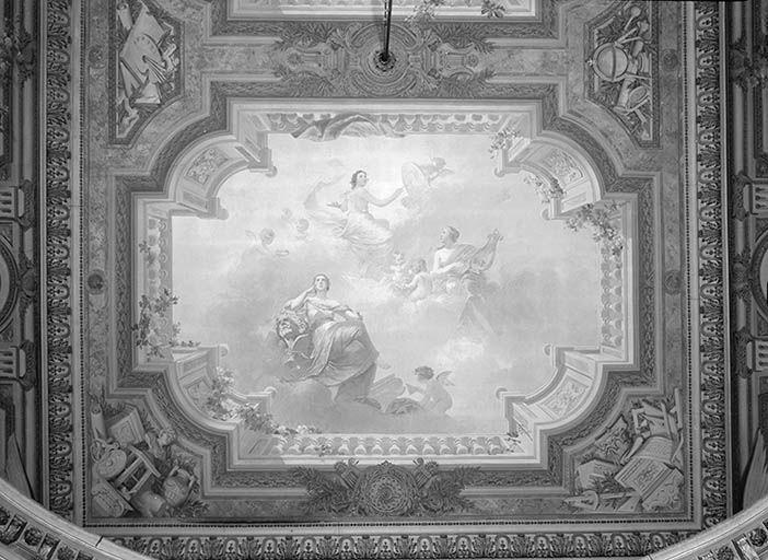 Peintures monumentales : Apollon couronnant les arts scéniques ; allégories de la Sculpture, de la Musique et de la Peinture ; Allégories de l'Astronomie, de la Poésie et de la Littérature