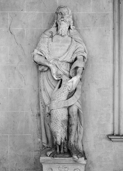 Groupe sculpté (petite nature) : saint Jean-Baptiste et l'agneau
