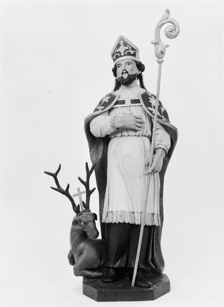 Groupe sculpté (petite nature) : saint Hubert