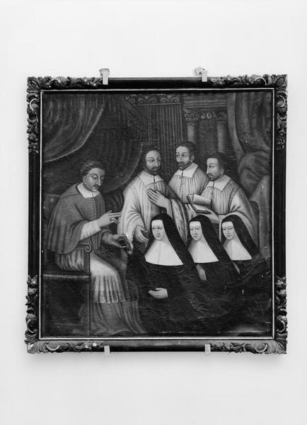 Tableau : saint Charles Borromée donnant des constitutions aux ursulines