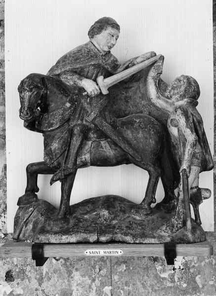 Groupe sculpté (statuette) : la Charité de saint Martin
