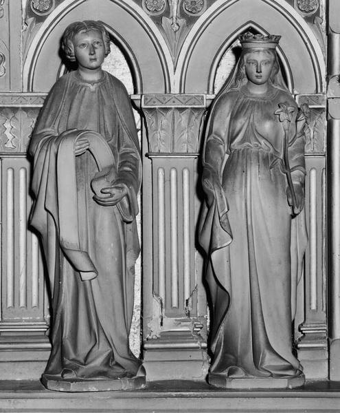 6 statues (grandeur nature, statuette) : saintes, Sacré-Coeur
