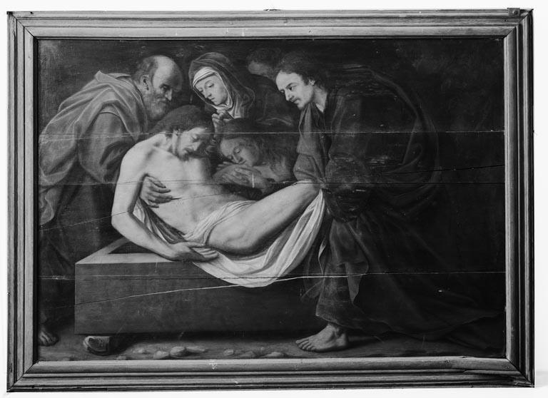 Tableau (triptyque) : Mise au tombeau, saint Jean-Baptiste et sainte Marguerite
