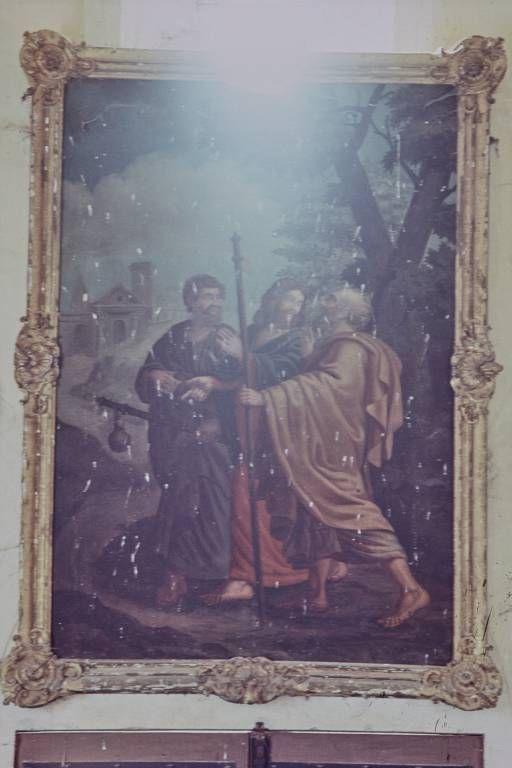 Tableau : les Pèlerins d'Emmaüs et son cadre