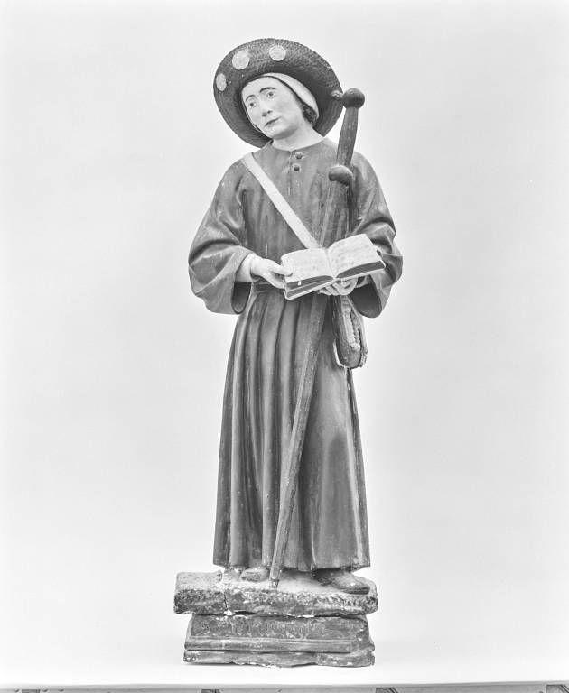 deux statues en pendant : saints pèlerins, dits Saint Gervais et Saint Protais