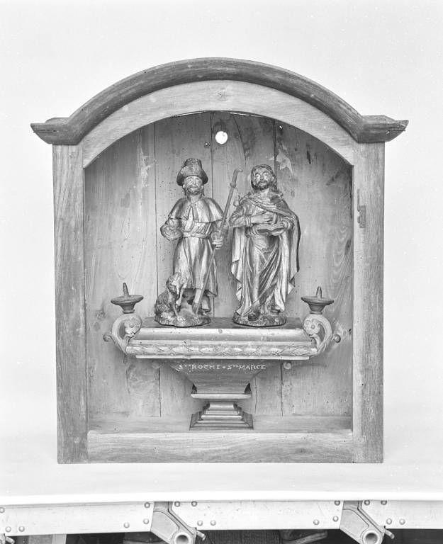 Bâton de procession : saint Roch et saint Marc, et sa vitrine