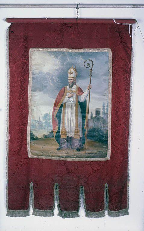 Bannière de procession : saint Martin et Christ en croix